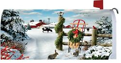 Winter Farm Barn Sled Cow Bunny Squirrel Snow Magnetic Mailbox Cover