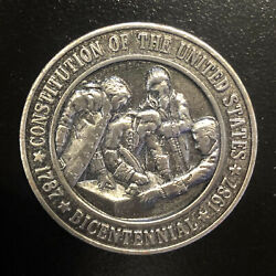 1987 Constitution Of The United States Bicentennial Pewter Medal Token Medallion