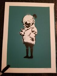 Not Banksy THINK TANK GIRL TURQUOISE PRINT  EDITION x/5 SOLD OUT stencil 11x15