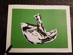 Not Banksy DANCER GREEN PRINT EDITION x/5 SOLD OUT stencil art graffiti 11x15