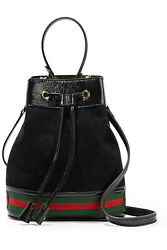 Gucci Ophidia Small Black Suede Patent Leather GG Web Shoulder Handle Bucket Bag