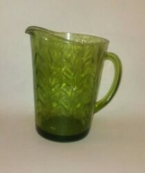 Vintage Sturdy Thick Green Depression Glass Pitcher Forest Green Crop Design Wow