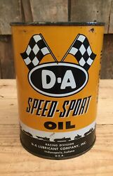Vintage D.a Speed Sport Motor Oil 1qt Tin Can Auto Gas Service Station Flag Graf