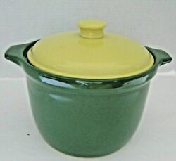 Vintage Green Stoneware Casserole Dish With Yellow Cover Lid