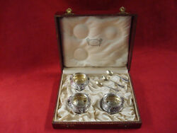 Beautiful Set Of 3 Silverplate Salt Dips / Dishes With Salt Spoons
