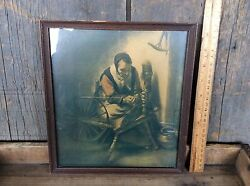 Antique William Taylor And Son Co. Framed Print Unknown Title Old Woman Weaving