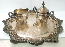 Vintage 70and039s 80and039s Viners Silverplate 3 Piece Set Platter Tray Creamer Sugar Bowl