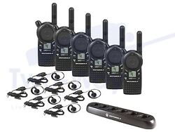 Motorola Cls1410 Two Way Radios W/ Earpieces And Bank Charger 6-pack New