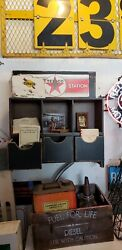 Texaco Gas Oil Service Filling Station Wooden Shelf Cubby Display
