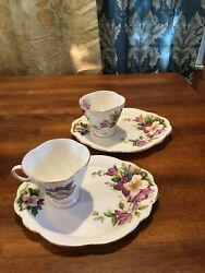 Set Of 2 Clarence English Bone China Purple Violets Tea Cup Snack Plates Gold Vg