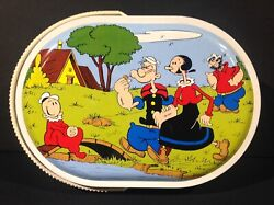 1970and039s Vintage Italian Popeye Metal Lunch Box Pail Tin Carry All From Italy Rare