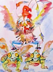 Rooster Turtle Dove Christmas Watercolor Whimsical Original Delilah Art