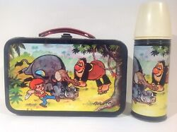 1960's Vintage Chilean Ogu And Mampato Lunch Box And Thermos Set Rare From Chile