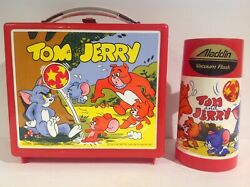 1973 Aladdin Red Tom And Jerry Plastic Lunch Box And Thermos From England Rare