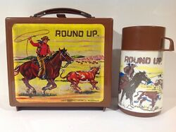 1970's Round Up Cowboy Plastic Lunch Box And Thermos From Venezuela Ultra Rare