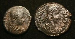 Lot 2 X Imperial Roman Coins - Very Good - Solidus And Ae3