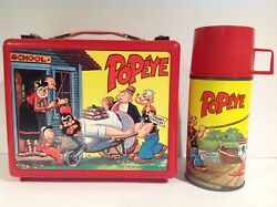 1964 Canadian Popeye Plastic Lunch Box With Metal Thermos From Canada Rare