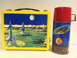 1960's Canadian Satellite Plastic Lunch Box With Metal Thermos From Canada Rare