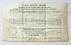 Authentic Ohio Land Grant Signed By President John Quincy Adams On 2-12-1827