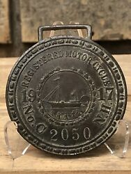 RARE Antique 1917 New Hampshire Motorcycle License Plate Tag Bronze Medallion