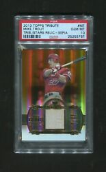 2013 Topps Tribute to Stars Relic/Sepia #MT Mike Trout RARE SP /15 PSA 10 POP 1