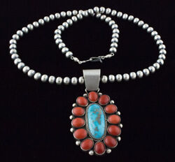 Silver Bead Necklace With Natural Stormy Valley Turquoise And Coral Pendant