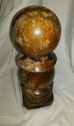 Antique Victorian Turned Wood Finial Newel / Bed Post Ball Cap