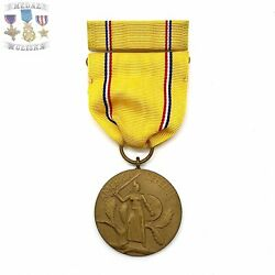"""Type-1 Wwii Us Army American Defense Medal """"ring Top"""" Service Ribbon Bar Bin 2"""