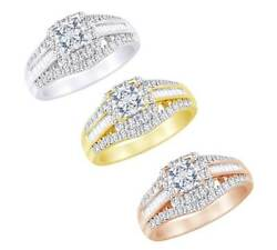 1.00 Ct Princess Round Tapper Cut Real Diamond In 10k Solid Gold Bridal Ring