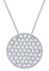 Round Cut White Natural Diamond Disc Pendant 14k Solid Gold 1.02 Cttw