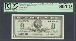 Ireland-the Provincial Bank One Pound 1-1-1972 P245s Specimen Perforated Aunc