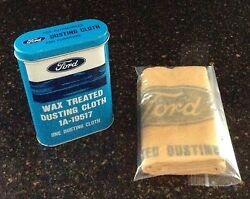 Nos Autolite-ford Wax Treated Dusting Cloth In Blue And White Gt Tin 1a-19517 Mint