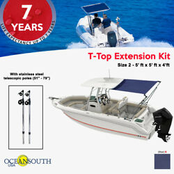 Oceansouth T-top Extension Kit Boat Stern Shade - Extends Up To 5and039 X 5and039 Blue
