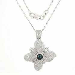 18k White Gold 0.70ctw Sapphire And Diamond Blooming Flower Pendant Necklace 18