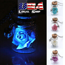 Tiny Glow in the Dark Flower Glass Wishing Wish Bottle Necklace Pendant Chain