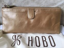 New wTags Hobo International Gold Metallic Leather Taylor Clutch Wallet Gift