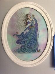 Christmas Blue Angel Completed Cross Stitch Picture