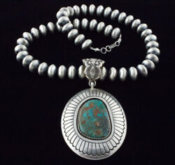 Sterling Silver Bead Necklace With Natural Easter Blue Turquoise Pendant