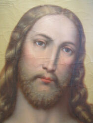 Exceptional Antique Life Size Large Oil Painting Jesus Christ Sacred Heart