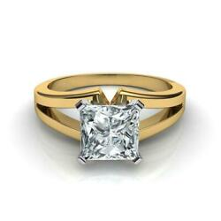 Exclusive 2.00 Carat F Si2 Princess Lab Diamond Solitaire Ring 14 K Yellow Gold