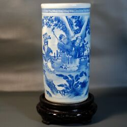Antique Chinese Porcelain Brush Pot Blue And White Ming/qing Fine Handpainting