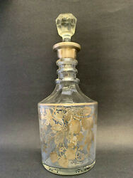 Crystal Decanter W/ Floral Sterling Silver Overlay