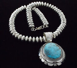 Sterling Silver Bead Necklace With Natural Bisbee Turquoise Pendant