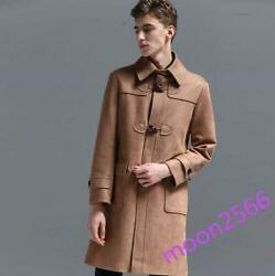 Menand039s Suede Leather Parka Jacket Trench Coat Mid Long Horn Button College Chic
