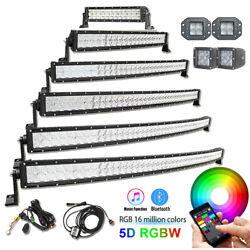 5d Rgb Straight Curved Offroad Led Light Bar Spot Flood Combo And Wiring Harness