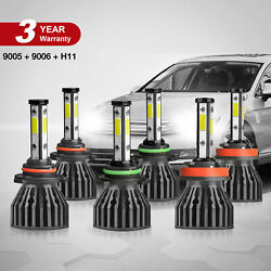 3 Pairs 9005+9006+h11 Cob Led Headlight High Beam+low Beam+fog Light 6000k Bulbs