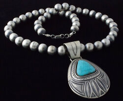 Sterling Silver Bead Necklace With Natural Birdseye Kingman Turquoise Pendant