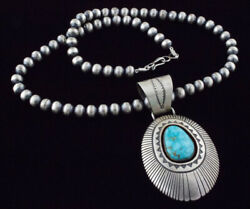 Sterling Silver Bead Necklace With Natural Kingman Water Web Turquoise Pendant