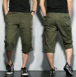 Mens Loose Fit Mid Long Casual Summer Cargo Army Combat Shorts Pants Plus Size