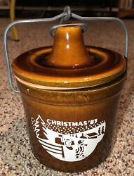 Vintage 1983 Figiandrsquos Brown Cheese Crock Jar Kave Kure Christmas Mailbox Delivery
